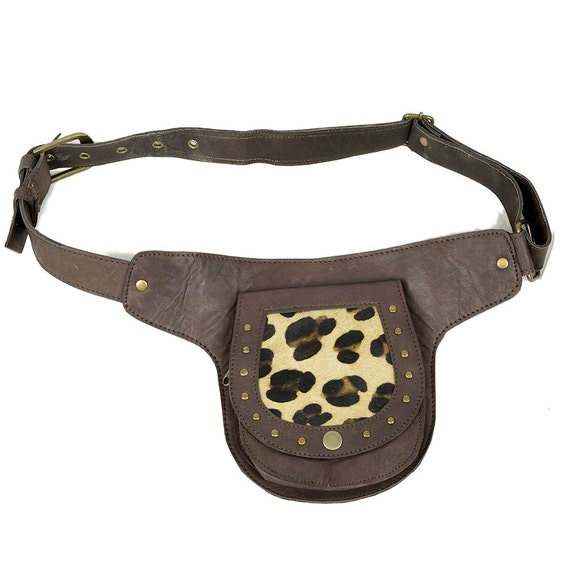 brown leather utility belt bag with leopard print by