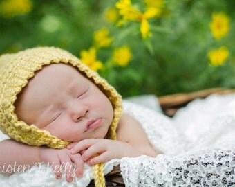Pixie crochet bonnet in yellow, newborn photo prop, gender neutral