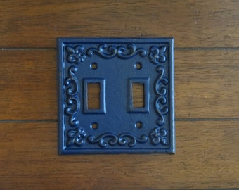 Light Switch Plate Cover/Shabby Chic Switch Cover/Cast Iron Switch Cover/Navy Blue or Pick Your Color/Fleur de Lis Desigh/Light Switch Cover