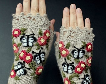 Knitted Fingerless Gloves, Butterflies, Clothing, Accessories, Gloves & Mittens, Gift Ideas, For Her,