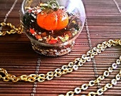 Halloween Jewelry Pumpkin Necklace with Holiday Snowglobe Pendant on Gold Chain