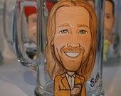 Set of 2 Groomsman or Best Man Caricature Themed Beer Mug