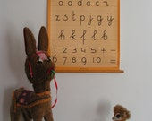 Vintage Dutch Alphabet Letter Writing Lesson Education Pull Down Classroom School Chart
