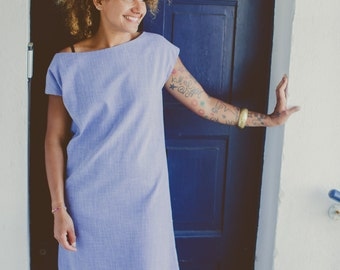 "END of SEASON SALE 25% off!! Miss Issy"" Kimono sleeve blue chambray dress vintage fabric size 'medium'"