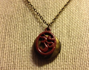 "16"" Maroon OM Locket Necklace"