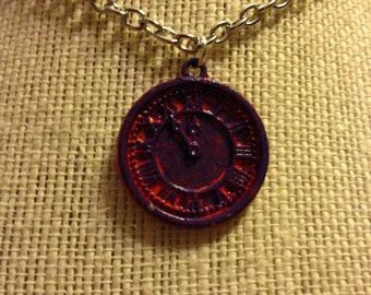 "20"" Orange&Violet Clock Pendant Necklace"
