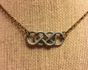 "16"" Light Blue Double Infinity Symbol Necklace"