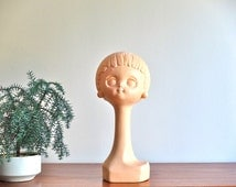 1970s french Twiggy hat stand / mannequin head / shop display