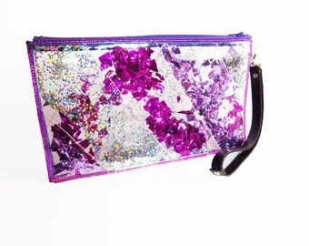 Pink Glitter Clutch Bag, Hot Pink Clutch Bag, Hot Pink Wristlet in Stargazer