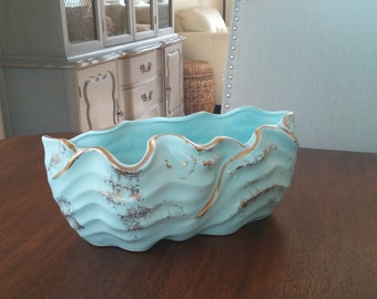 Lovely Light Aqua Blue w/ Gold Trim Ruffled Decorative Planter Bowl/Dish