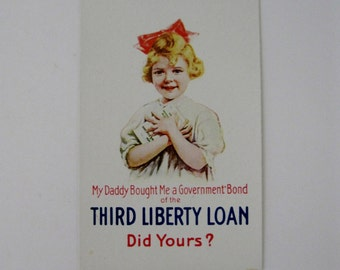 Vintage Post Card - WWI Government Bonds of the Third Liberty Loan - Unused - 1920s
