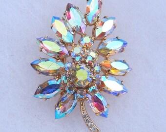 Vintage Gold Cast Aurora Borealis Rhinestone Leaf Brooch Pin