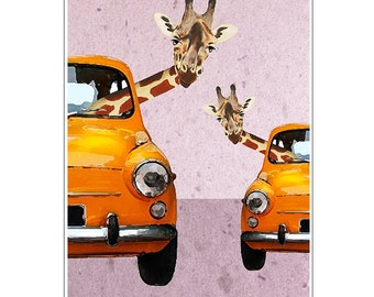 Giraffes in a car-Print giclee Print Illustration Acrylic Painting Animal Painting Wall Decor Wall hanging animal on bicycle Coco de Paris