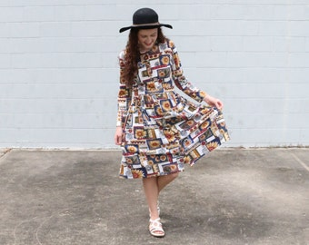 Sunflower Print 90s Style Dress