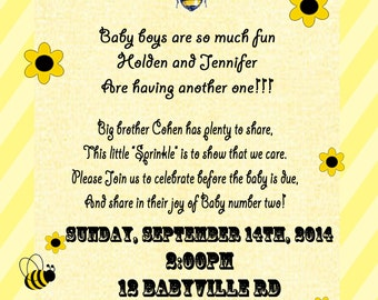 Honey Bee Baby Shower Sprinkle Invitations