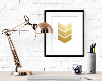 Three Gold Chevrons Printable  Artwork - 8x10 Digital Download