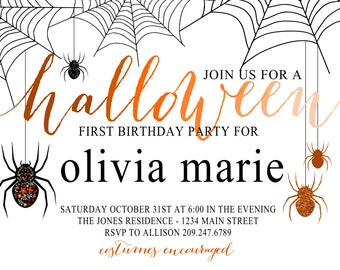 halloween birthday invitation (digital file)