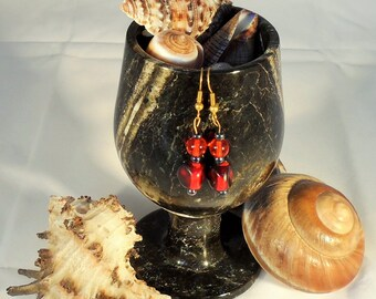 Red and Black Dangling Earrings (CE 0004)