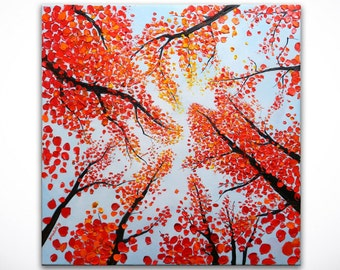 Abstract Autumn Red Leave Forest Palette Knife Landscape Fine Art Peaceful Sky ORIGINAL Oil Painting on 24x24 Canvas by Denisa Laura