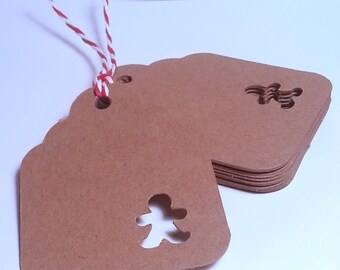 50 Gingerbread man TAG - handmade die cuts with gingerbread man punched
