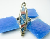 Large 1960s Ring, Zuni Native American Ring, Silver,Turquoise & Coral Inlay, Southwestern USA.