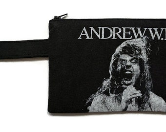 Andrew W.K. Bag • Upcycled T-shirt Clutch • Andrew W.K. Tshirt Bag • Wristlet •