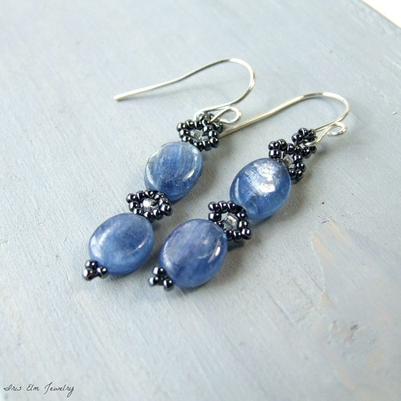 Small Blue Earrings: Blue Kyanite Earrings, Small Oval Drop Earrings Blue