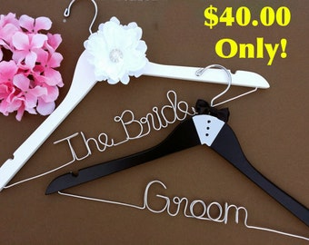 Sale Personalized Set of 2 Bride and Groom Wedding Hanger. Bridal Hanger. Bridal Party. Custom Hanger. Comes With Bow