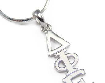 Delta Phi Epsilon Sterling Silver Lavaliere // ΔΦΕ Sorority Necklace // Greek jewelry // Sorority gifts // Sorority Jewelry // Greek Letters