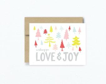 Christmas Card. Love And Joy Colorful Christmas Card. Holiday Greeting Card. Christmas Tree. Colorful Christmas. Blank Christmas Card # 264