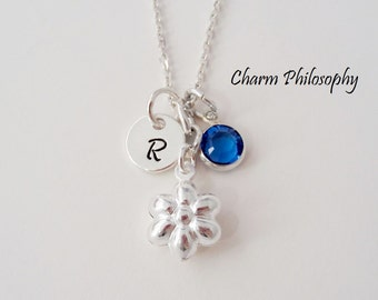 Flower Necklace - 925 Sterling Silver Jewelry - Kids Jewelry - Personalized Birthstone and Initial