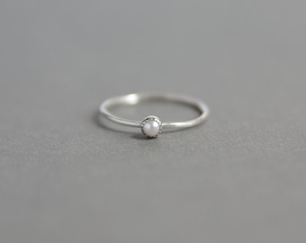 Tiny Freshwater Pearl Sterling Silver Ring - Handmade 925 Silver Jewellery