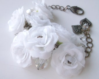 Fabric Bracelet flower bracelet wedding accessories wedding flower white bracelet for her bridal jewelry wedding jewelry white rose bracelet