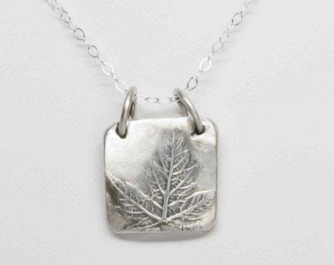 Maple Leaf Fine Silver Pendant - Handcrafted - Leaf Imprint -t