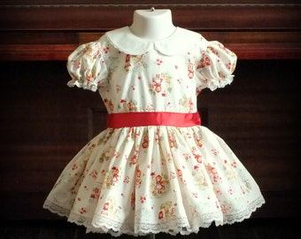 Vintage 1950s Little Red Riding Hood Dress & Petticoat by Steady As She Goes CUSTOM 2T 3T Mary Poppins Music Man costume Peter Pan collar