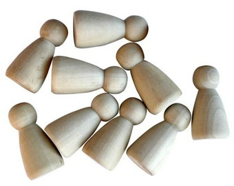 10 x 6cm Plain Blank Wooden Peg People Dolls Girls Women