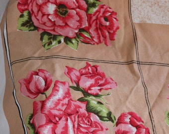 Vintage Shabby Pink Roses and checks Tablecloth topper