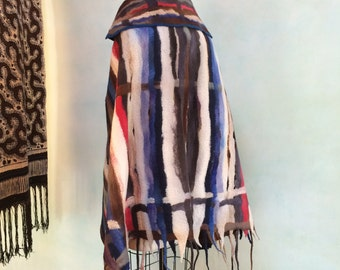 Felted Cape, Hand Felted Shawl, Felt Cape with Collar, Felted Clothing, Hand Felted Fall Cape