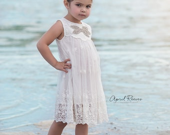 Flower Girl Dress, White Flower Girl Dress, Beach Flower Girl Dress, Rustic Flower Girl Dress, Boho Flower Girl Dress, Beach Wedding