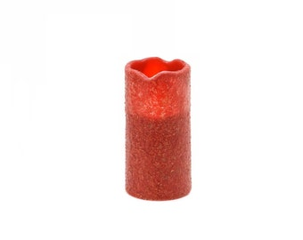 LED Candle - Primitive Style - Textured - Burgandy - 3 x 6 inches