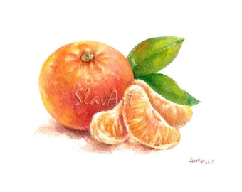 Fruit Art - Painting of Mandarin Food Still Life Print Watercolor Painting Fine Art Home Decor Realistic Kitchen art