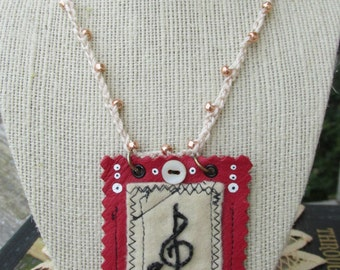 Musical Embroidered Crochet Necklace~