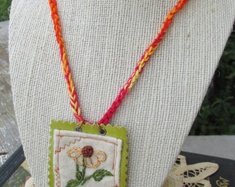 Sunflower Patchwork Embroidered Necklace~