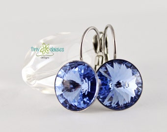 Light Sapphire Crystal Earrings, Light Blue Jewelry, Ready to ship, Stainless Steel Hypoallergenic