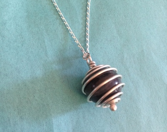 Spiral Wrapped Caged Bead Pendant in Sterling Silver