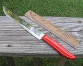 1950s or 1960s Fiesta Quikut Stainless Steel Blade Knife with Red Acetate Handle & Original Cardboard Protector, 8 Inch Blade, Like New