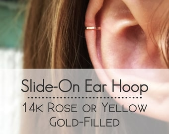14k Rose Gold or Yellow Gold Filled Faux Helix Ring - Fake Helix Piercing - Hammered Faux Cartilage Piercing - Ear Cuff - Fake Body Jewelry