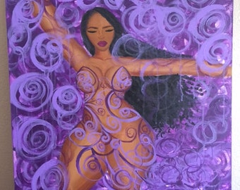 Divine Violet, Curvy black woman print