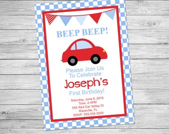 Little Red Car Birthday Invitation Printable - Beep Beep Birthday Invitation