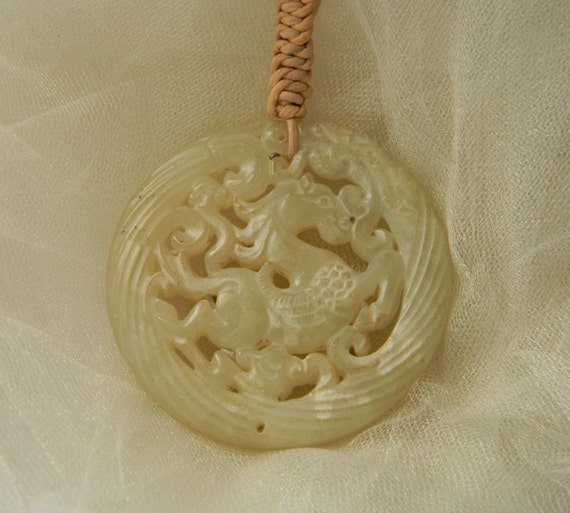 Jade horse pendant on leather cord necklace natural ivory like this item aloadofball Images